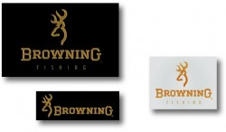 Browning Sticker, Gold/Trans 15 x 12cm