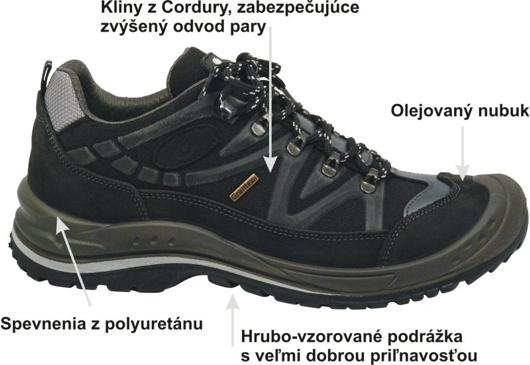 d65f10bb9f Obuv má zosilnenie v oblasti prstov. Všité kliny z materiálu Cordura dávajú  topánke zvýšenú odolnosť voči oderu a rýchlo odvádzajú potrebné množstvo  pary.