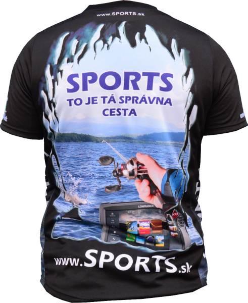 Dres SPORTS s logom ryby - čierne