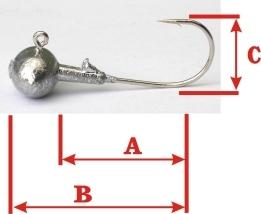 JIG háčik - Guľa s kŕčkom 17g/háčik 4/0, A3,5cm, B5cm, C1,6cm