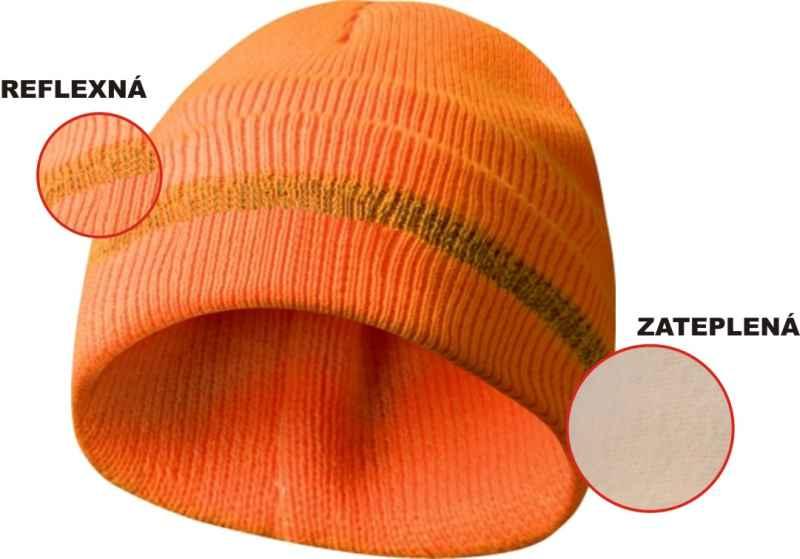 Zateplená čiapka s reflexným pásikom - oranžová