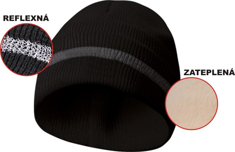 Zateplená čiapka s reflexným pásikom - čierna