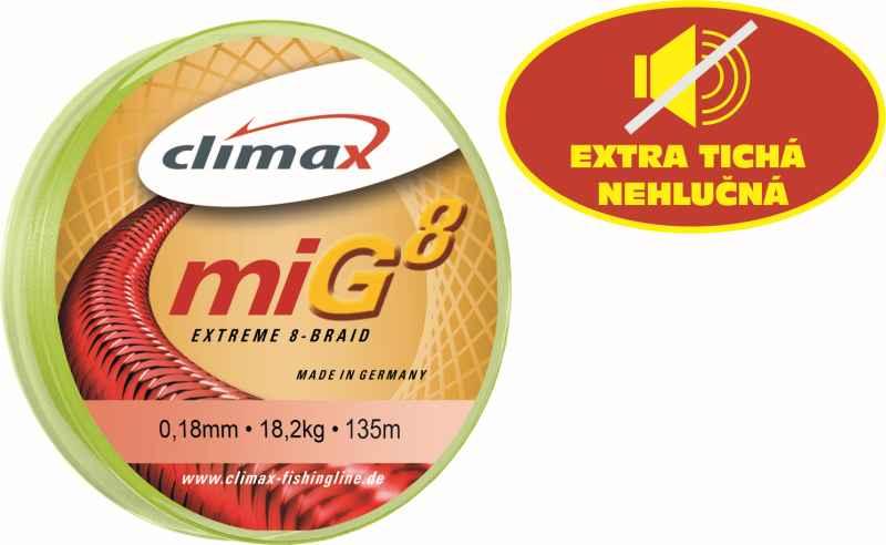 Climax šnúra 135m - miG 8 Braid Olive SB 135m 0,18mm / 18,2kg