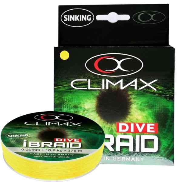 Potápavá šnúra Climax iBraid DIVE žltá 135m Priemer: 0,15mm Nosnosť: 7,5kg