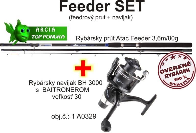 Akcia feeder 3,6m/80g + feeder dvojbrzdový navijak