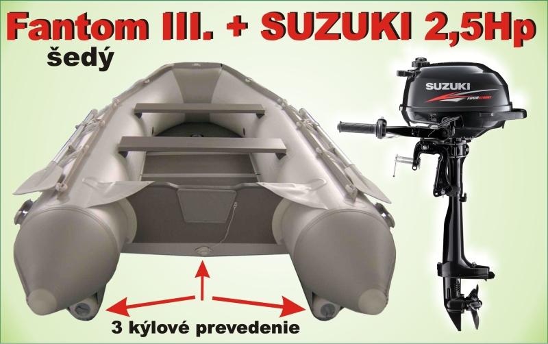 Čln Fantom 3 - trojkýlový s Motorom SUZUKI 2,5Hp