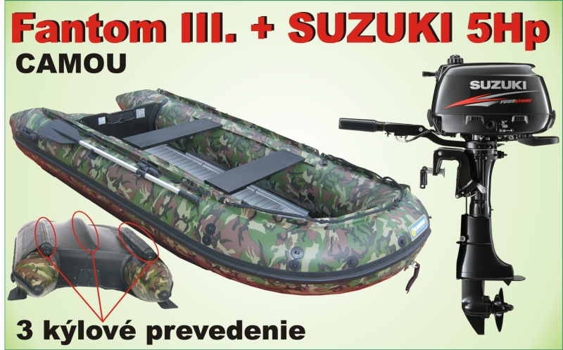 Čln Fantom 3 CAMOU 3 kýl s Motorom SUZUKI 5Hp