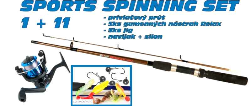SPORTS Spinning set 1 + 11 prút +nástrahy + navijak 30