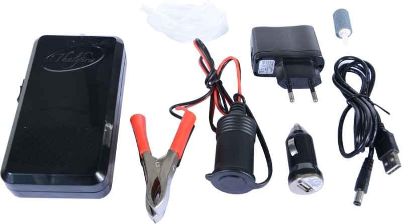 Okysličovač AA Batterie, USB, auto adapter/230V, svorky