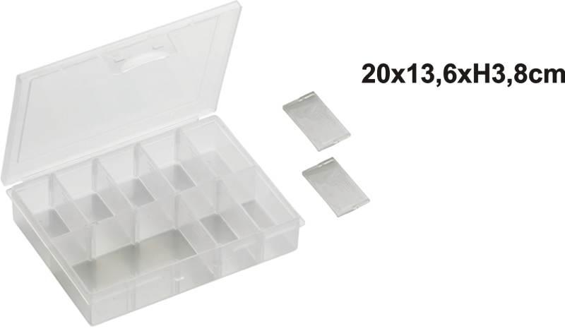 Uzatvárateľná krabička s posuvnými priehradkami