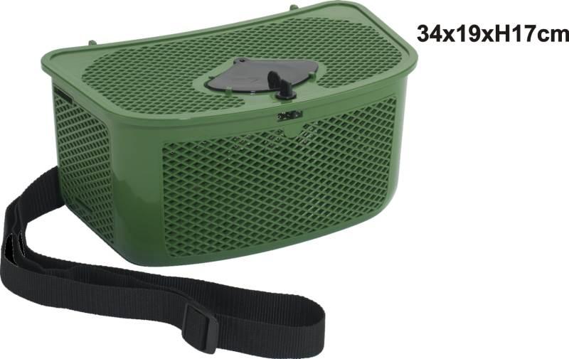 Rybársky košík s otvorom na vkladanie úlovku