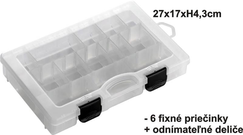 Krabička 27x17x4,3cm, 6 pevné+ variab. Priehradky