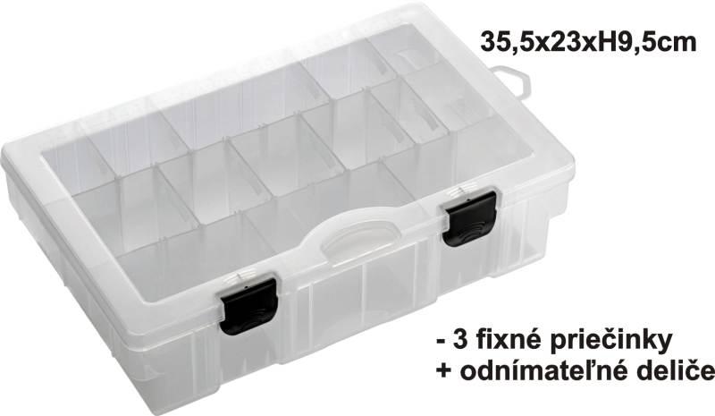 Krabička - BOX 35,5x23x9,5cm, 3pevné + variab. priehrad