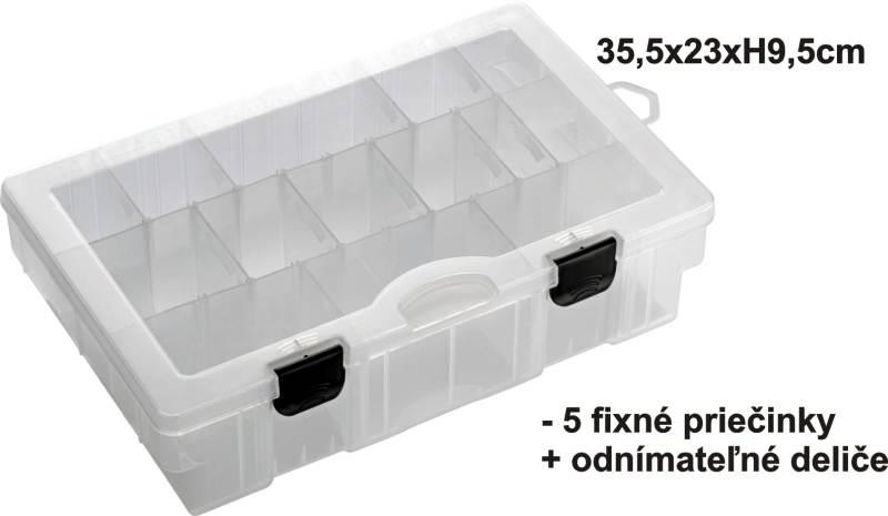 Krabička - BOX 35,5x23x9,5cm, 5pevné + variab. priehrad