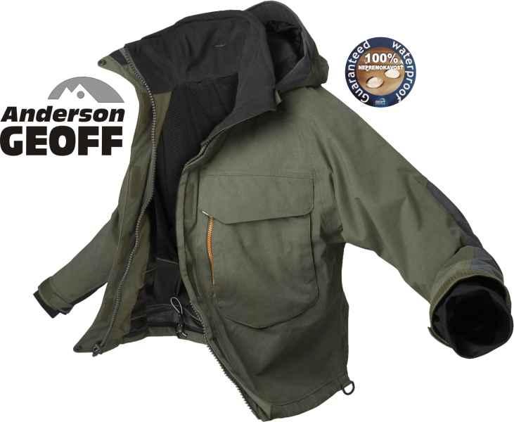Rybárska nepremokavá bunda Geoff Andreson WS 5 s kapucňou paropriepustná -  100% odolná d248060c6e9