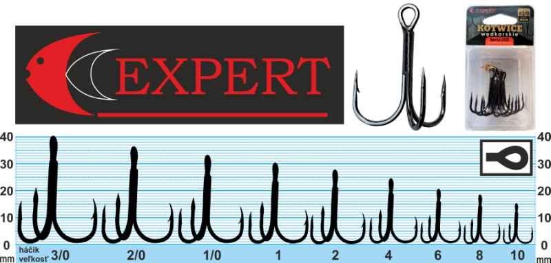 Trojháčik s protihrotom Expert 1215 čierny Veľkosť: č. 10 Balenie: 7ks