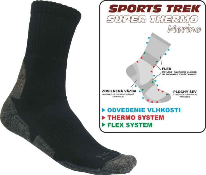 Rybárske Ponožky SPORTSTREK SUPER THERMO Merino veľkosť 43-46