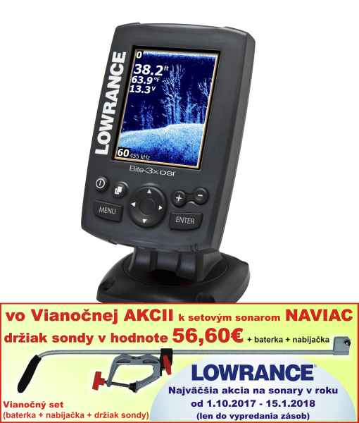 ELITE-3X DSI bez GPS°, 2 lúčový sonar, snímanie 30°/55°