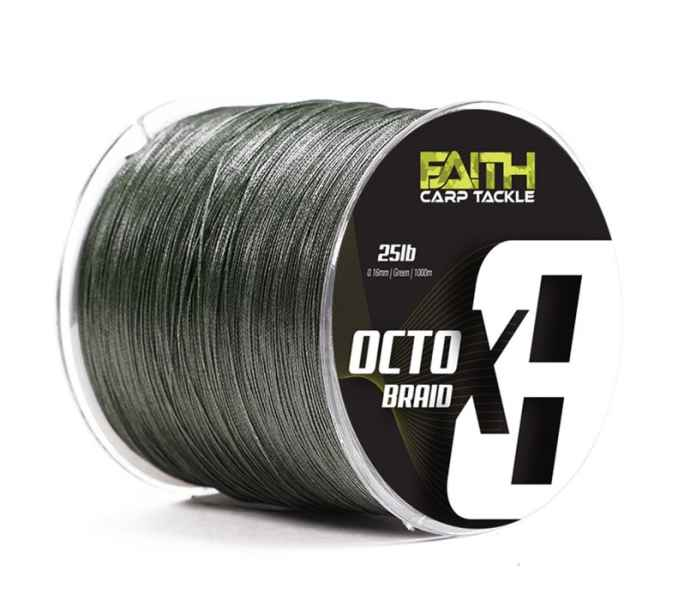 Pletená šnúra Faith Octox 8 vlákien 0,16mm/1000m/25lb