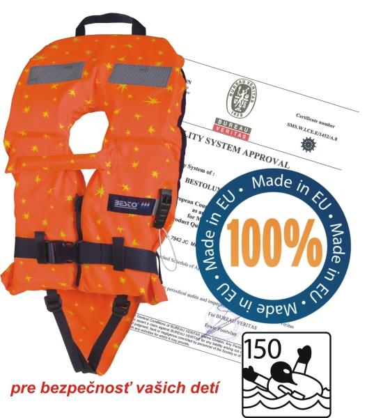záchranná vesta oranž/žltá detská 100N