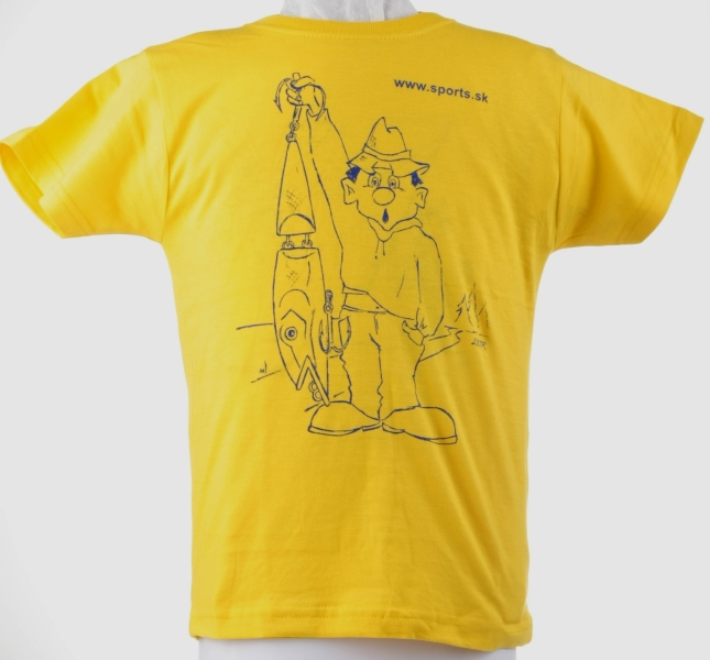 Tričko detské Rybár s voblerom žlté