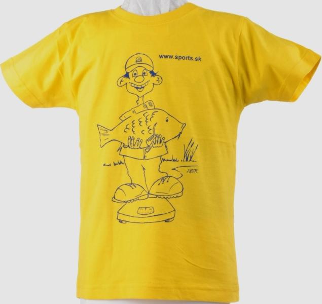 Tričko detské Rybár váži kapra žlté