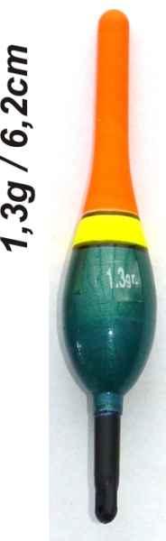 Plavák na ryby, dĺžka 62mm / nosnosť 1,3 gr
