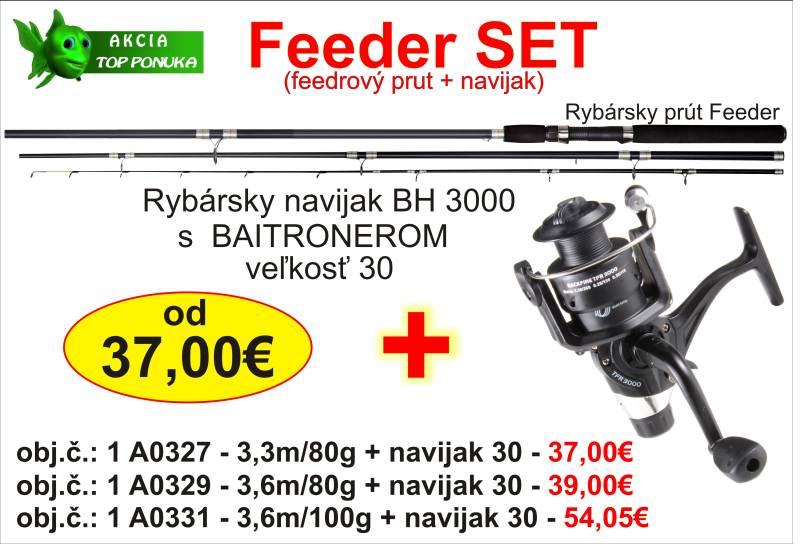Akcia feeder 3,3m/80g + feeder dvojbrzdový navijak