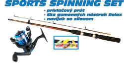 SPORTS Spinning set 1 + 6 prút a nástrahy + navijak 30