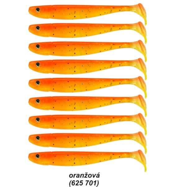 Gumené nástrahy Senschu 7,5cm, bal. 9ks, UV zeleno-hnedá, 45ks (M80)
